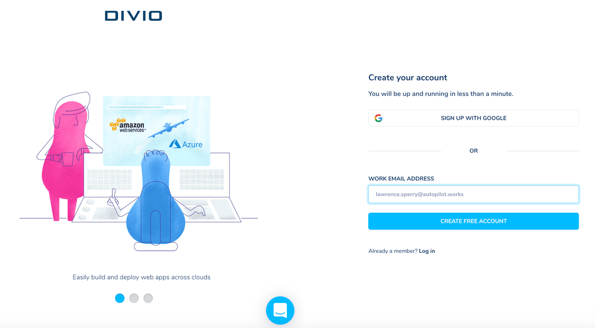Create an accout for django CMS live demo on Divio.